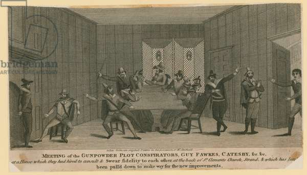 Meeting of the Gunpowder Plot conspirators, Guy Fawkes, Catesby, etc (engraving)