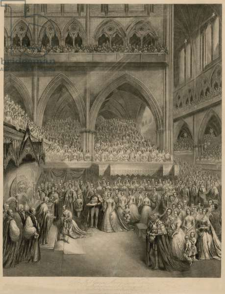 Queen Victoria receiving the sacrament at her Coronation (engraving)