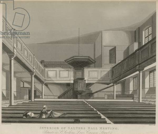 Interior of Salters Hall Meeting, situated in St Swithins Lane, Cannon Street, London (engraving)