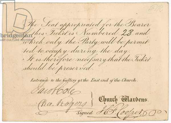 Admission ticket to St Margaret's Vestry Gallery, for the coronation of Queen Victoria, 28 June 1838, reverse (engraving)