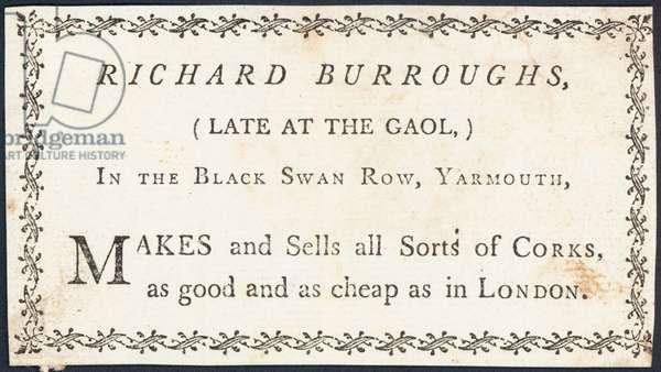 Trade card, Richard Burroughs (engraving)