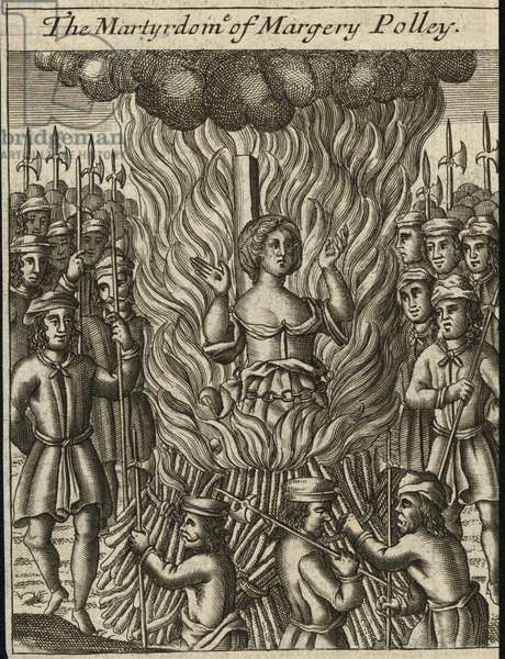 The martyrdom of Margery Polley (engraving)