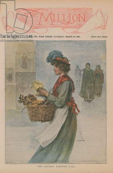 The London Flower Girl (colour litho)