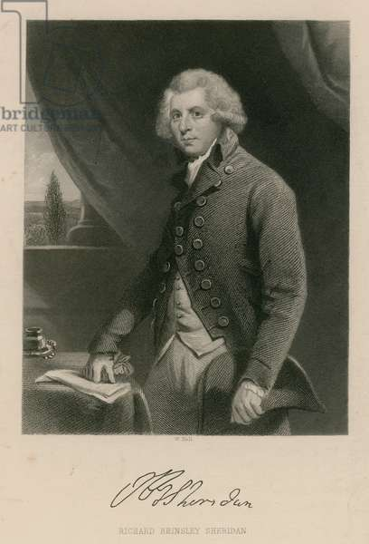 Richard Brinsley Sheridan, playwright, poet and theatre manager (engraving)