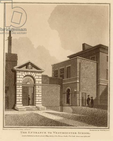The entrance to Westminster School (engraving)