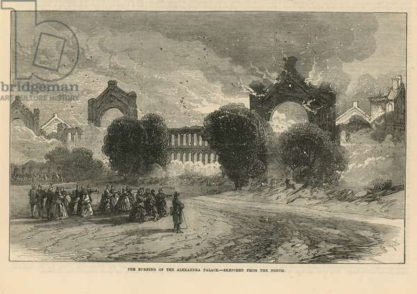 The burning of Alexandra Palace (engraving)