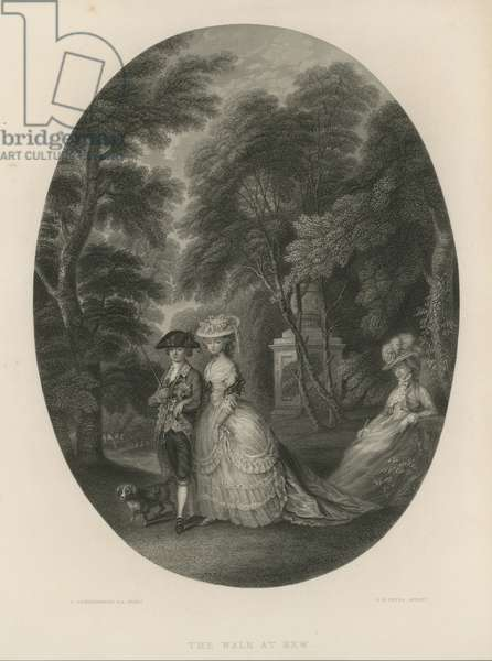 The walk at Kew, London (engraving)