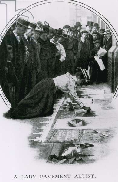 A lady pavement artist about the time of Edward VII's coronation (photo)