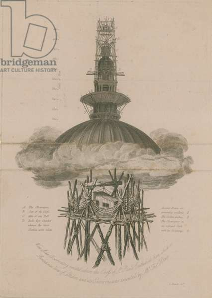 View of the observatory erected above the Cross of St Paul's (engraving)