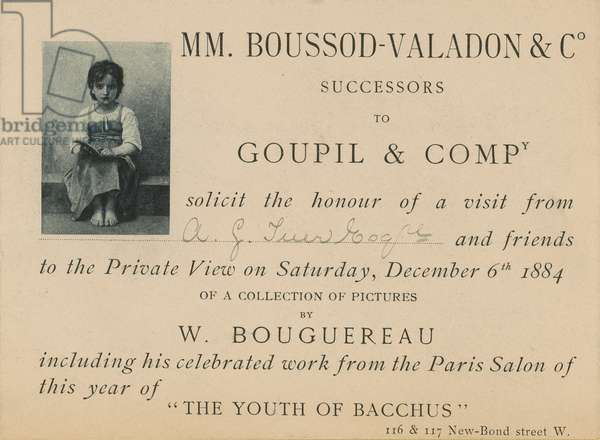 Invitation to an exhibition of work by William Bouguereau (engraving)