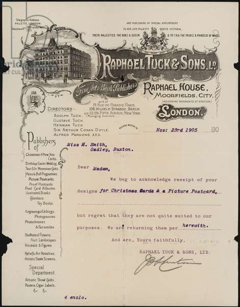 Note from Raphael Tuck & Sons rejecting designs for Christmas cards and picture postcards submitted to them, 1905 (litho)