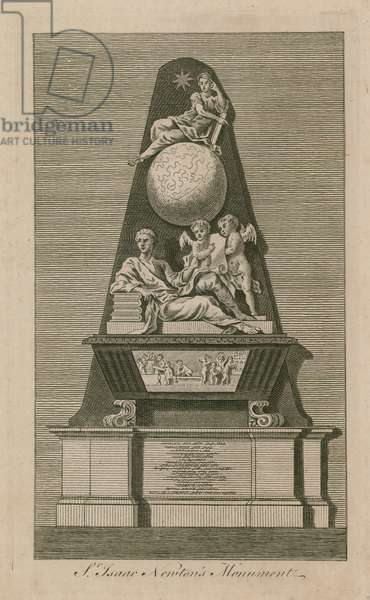 Monument of Sir Isaac Newton in Westminster Abbey (engraving)