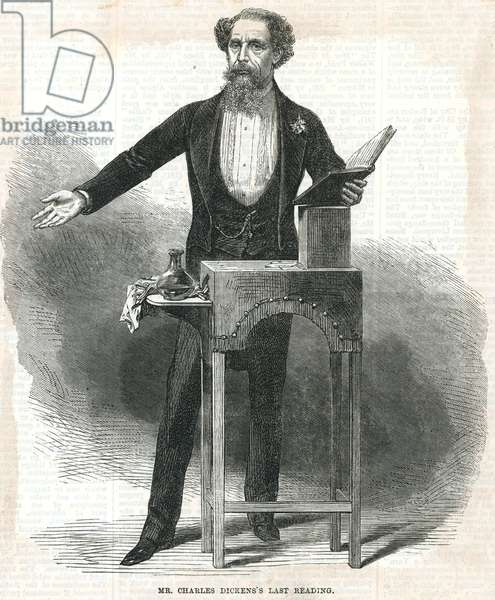 Mr Charles Dickens's last reading (engraving)