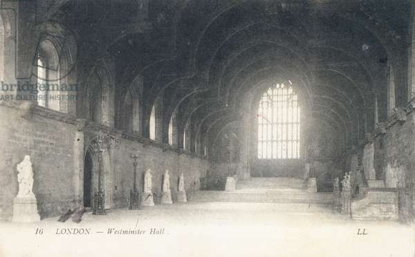 Westminster Hall in the Palace of Westminster (b/w photo)