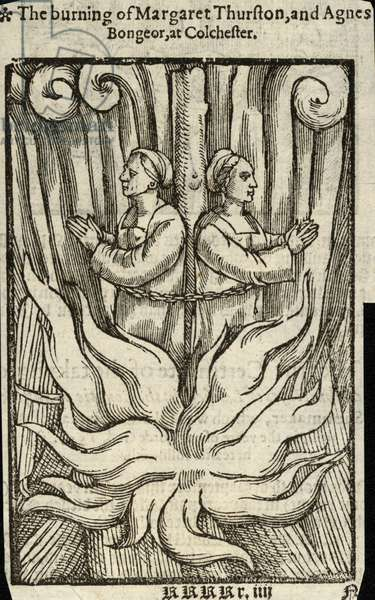 The burning of Margaret Thurston and Agnes Bongeor at Colchester (engraving)