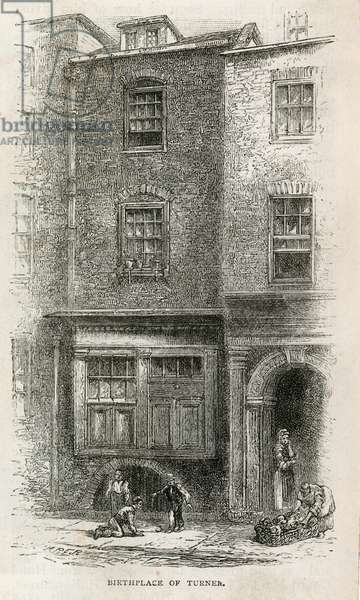 Birthplace of J M W Turner in Maiden Lane (engraving)