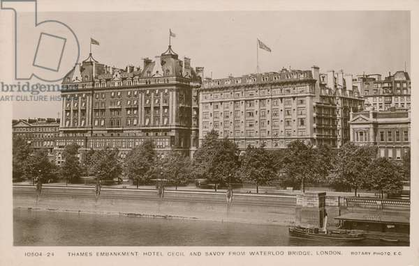 Thames Embankment Hotel Cecil and Savoy from Waterloo Bridge, London (photo)