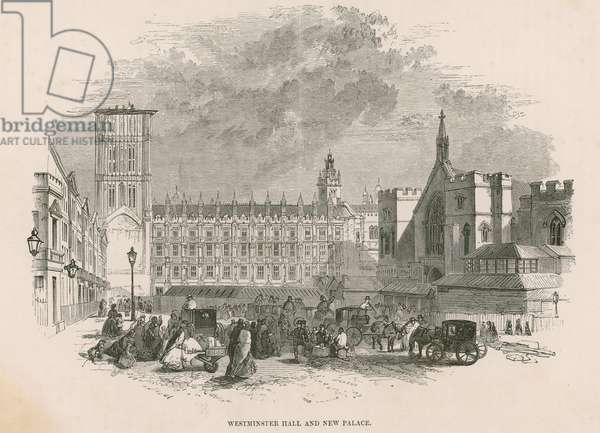 Westminster Hall and new Palace of Westminster, London (engraving)