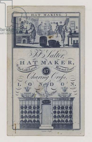 Hatters, Salter, trade card (engraving)