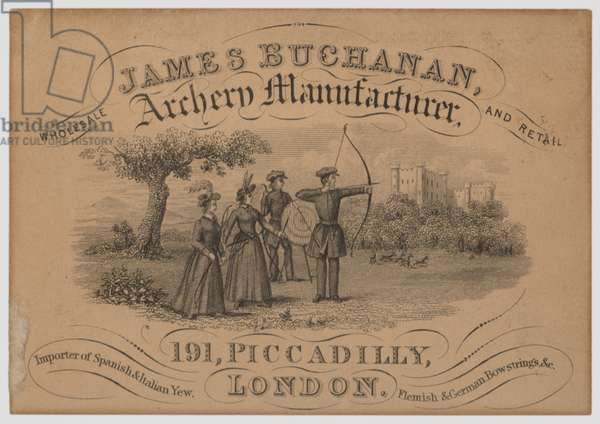 Trade card for James Buchanan, manufacturer of archery equipment, Piccadilly, London (engraving)