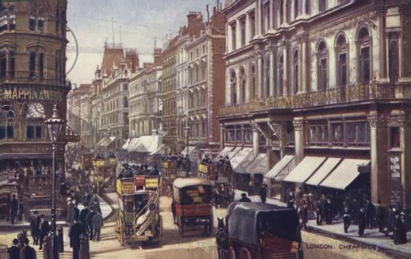 London, Cheapside (colour litho)