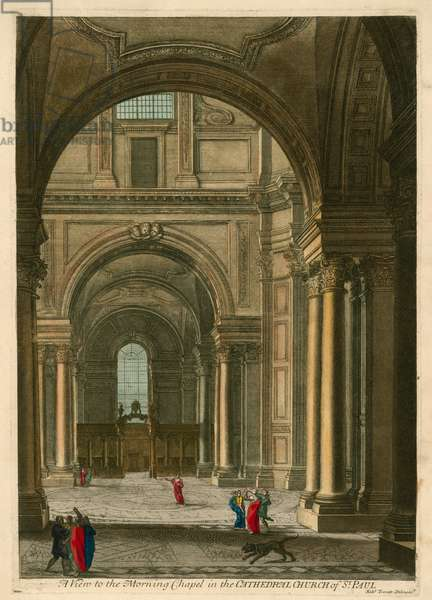 A view to the Morning Chapel in the Cathedral Church of St Paul, London (coloured engraving)