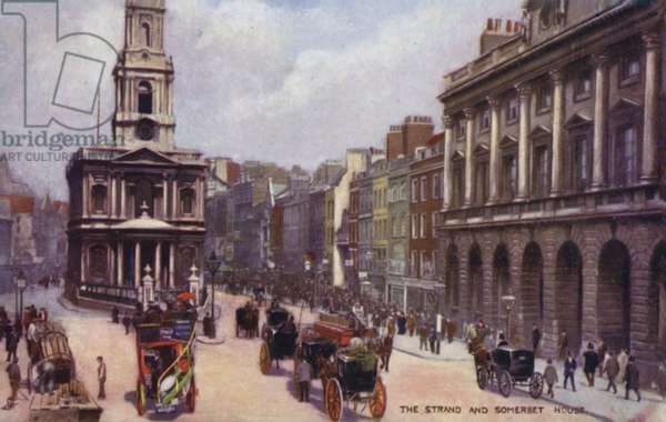 The Strand and Somerset House (colour litho)