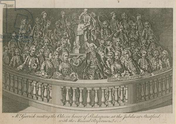 Mr David Garrick reciting the Ode, in honour of William Shakespeare at the jubilee at Stratford (engraving)