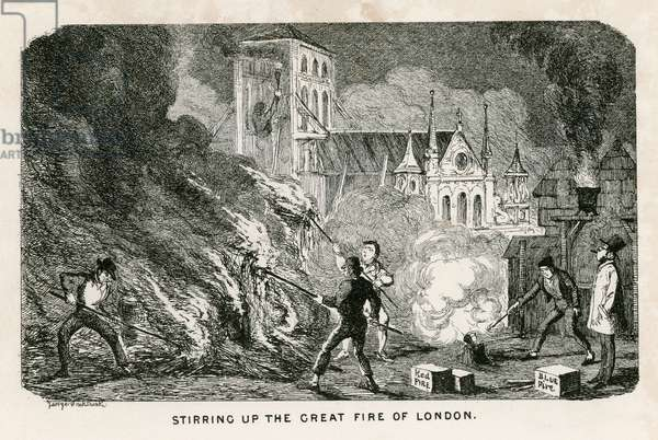 Stirring up the Great Fire of London (engraving)