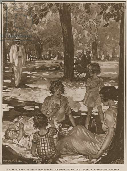 The heat wave in Peter Pan land: luncheon under the trees in Kensington Gardens (litho)