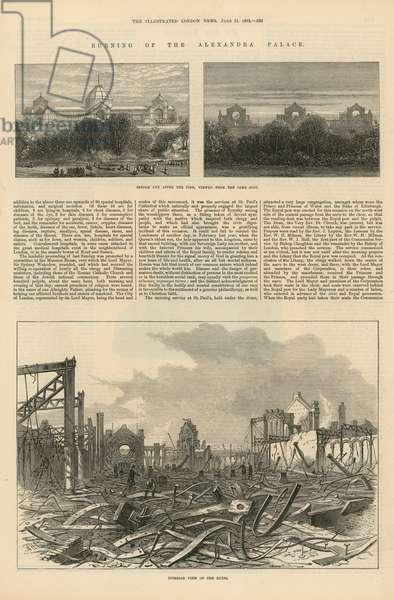 The burning of Alexandra Palace (engraving)