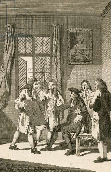 Sir Christipher Wren presenting to King Charles II his plan for rebuilding London (engraving)