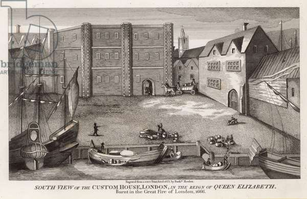 South view of the Custom House, London, in the reign of Queen Elizabeth (engraving)