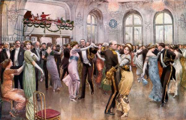 The United States Navy League Ball at the Savoy (colour litho)