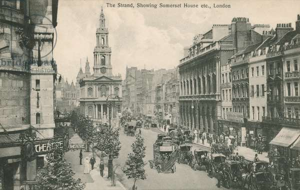 The Strand, showing Somerset House and St Clement Danes, London (photo)