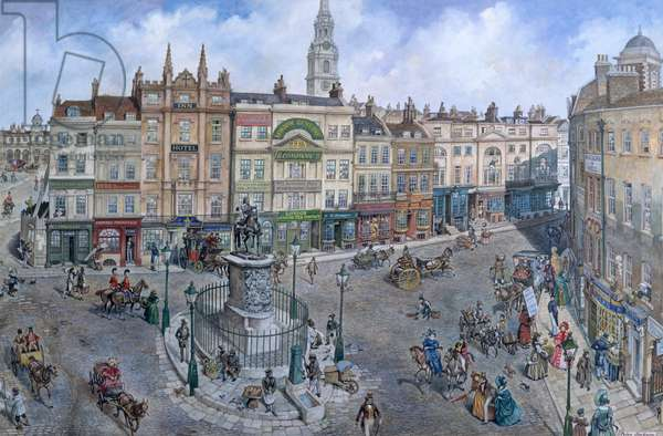 Old London Reconstructed: Charing Cross about 1830 (gouache on paper)