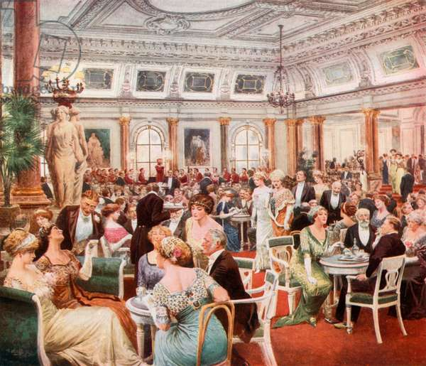 Sunday evening at the Savoy (colour litho)