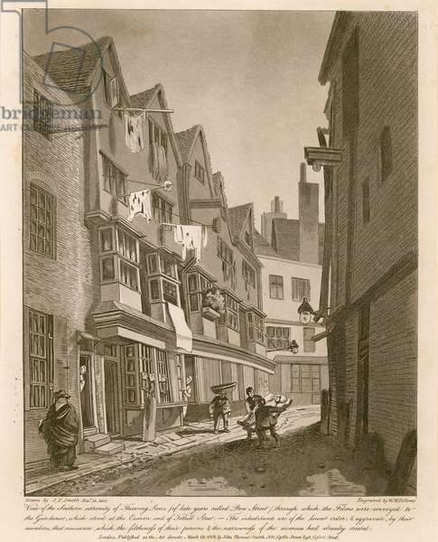 View of the Southern extemity of Thieving Lane (of late years called Bow Street) (engraving)