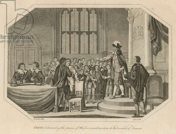 King Charles I demanding the persons of the five members whom he had accused of treason (engraving)