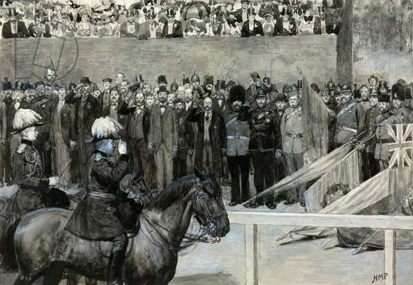 The Prince of Wales at the Volunteer Review, Horse Guard's Parade (w/c on paper)