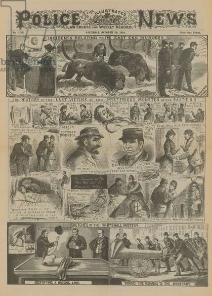 Jack the Ripper: Incidents relating to the East End murders (engraving)
