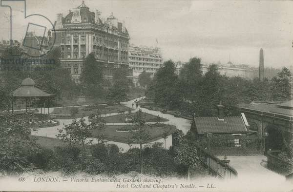 Victoria Embankment Gardens, showing Hotel Cecil and Cleopatra's Needle, London (photo)
