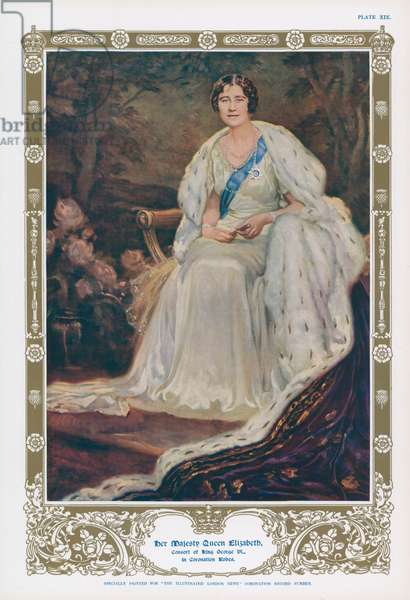 Queen Elizabeth, consort of King George VI and mother of Queen Elizabeth II (colour litho)