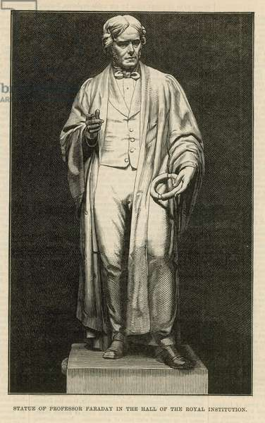 Statue of Professor Faraday in the hall of the Royal Institution (engraving)
