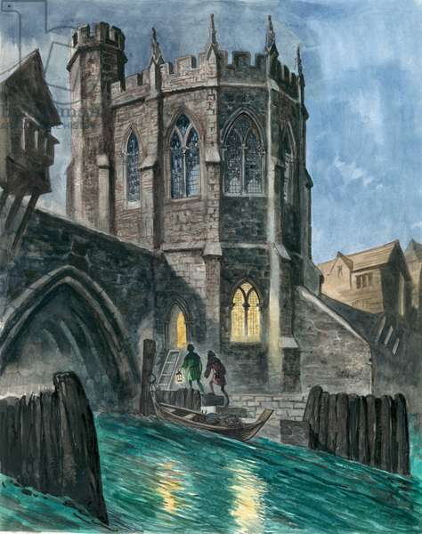 Imaginary reconstruction of the Chapel of St Thomas on old London Bridge (gouache on paper)