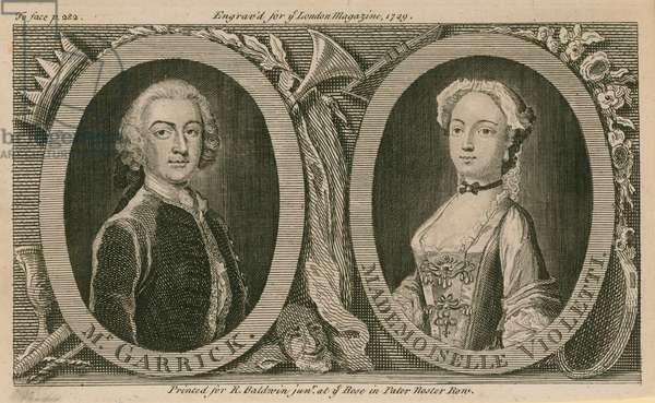 Mr Garrick and Mademoiselle Violetti (Eva Marie Veigel) (engraving)