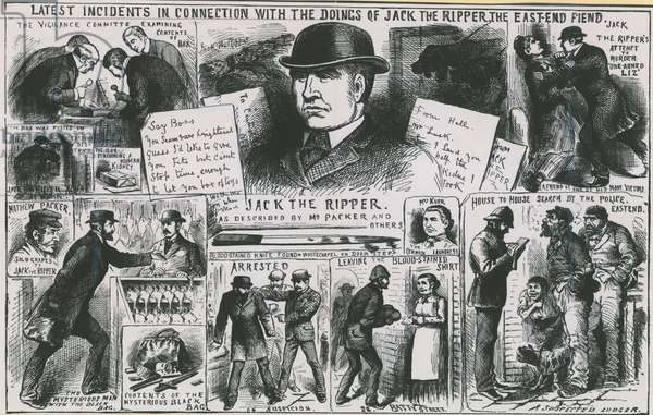 Latest incidents in connection with he doings of Jack the Ripper, the East End fiend (engraving)