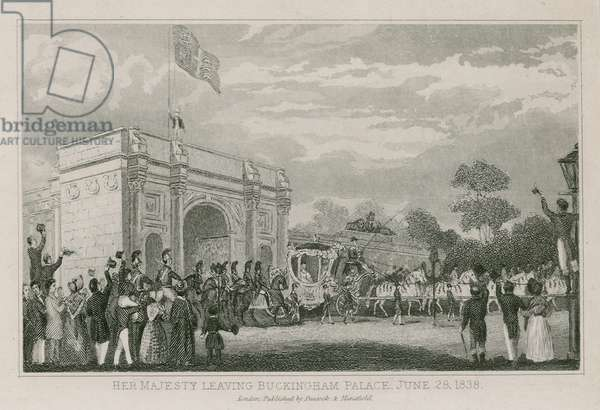 Queen Victoria leaving Buckingham Palace, 28 June 1838 (engraving)