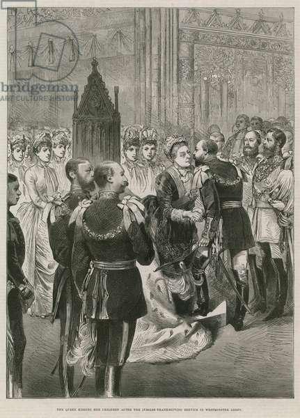 Queen Victoria kissing her children (engraving)