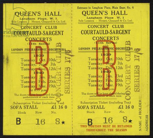 Ticket to the Courtauld-Sargent concerts, Queen's Hall, Langham Place, London, 1939-1940 (litho)